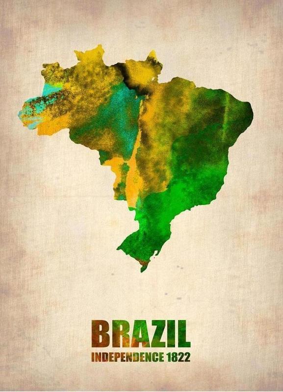 Brazil Watercolor Map -Leinwandbild