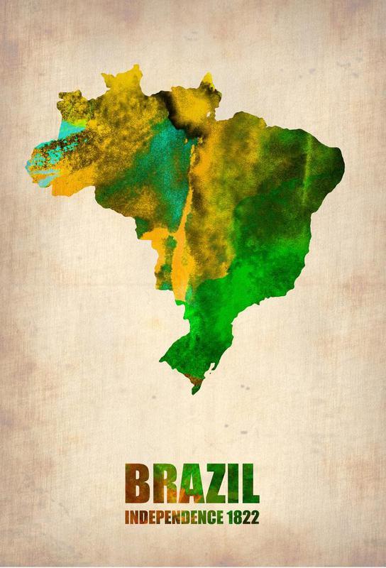 Brazil Watercolor Map Aluminium Print