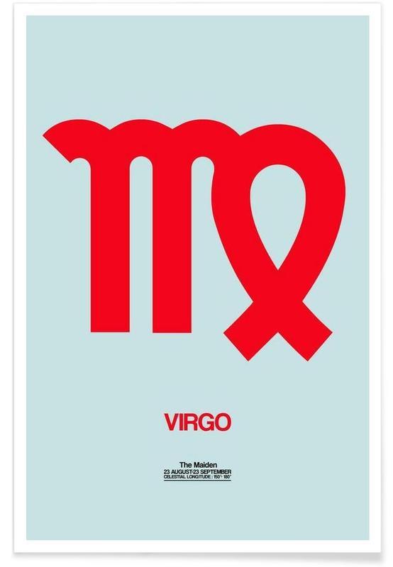 Symbolen, Virgo Zodiac Sign Red poster
