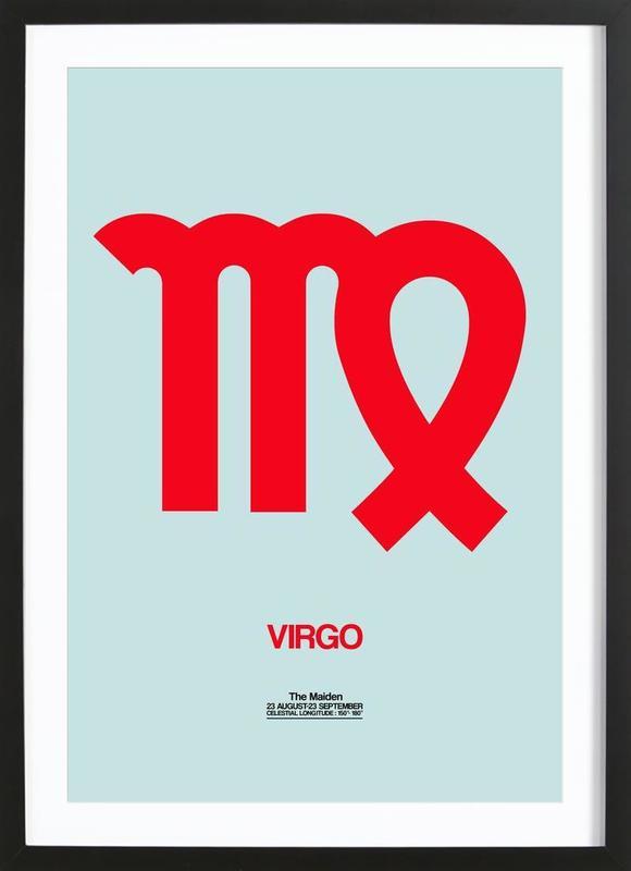 Virgo Zodiac Sign Red affiche sous cadre en bois