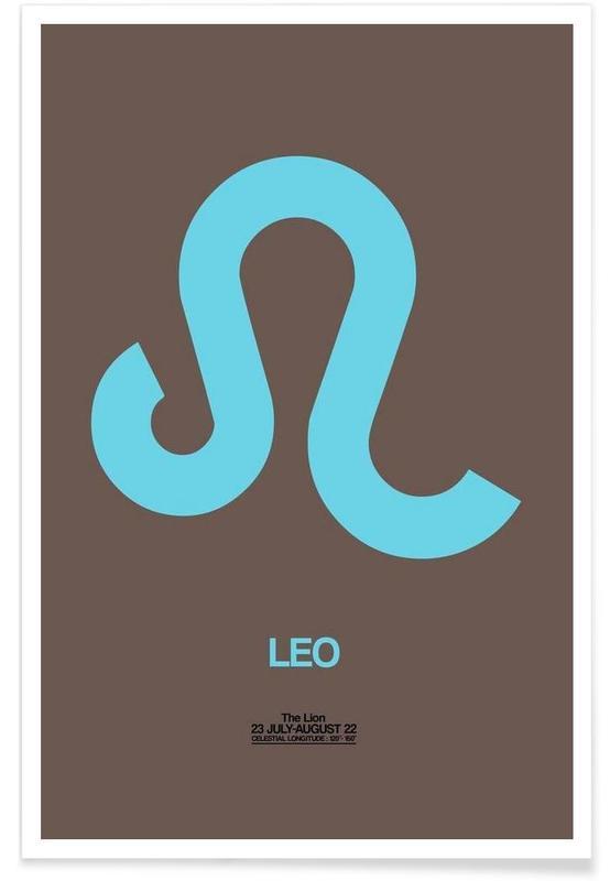 Symbole, Leo Zodiac Sign Red -Poster
