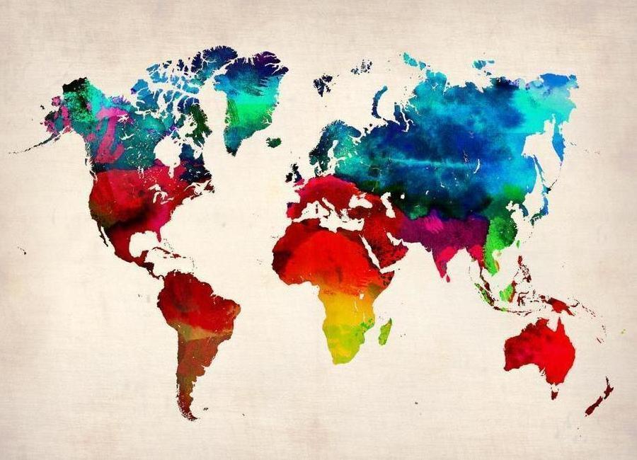 World Map canvas doek