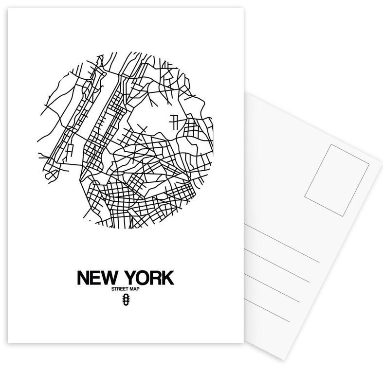 City Maps, Black & White, New York, New York Postcard Set