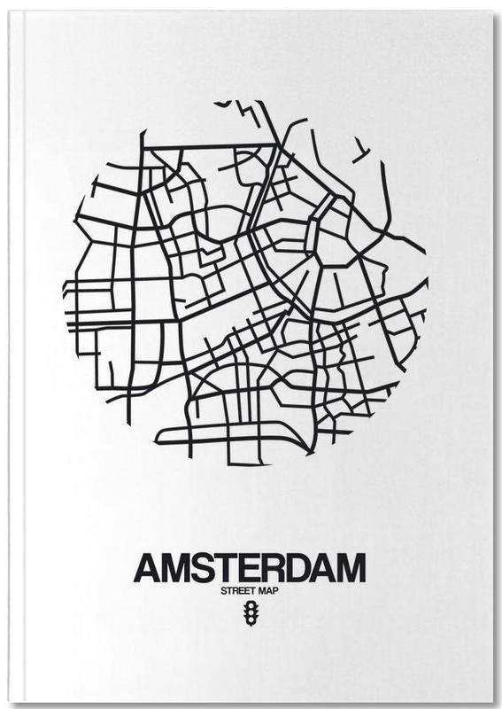 Cartes de villes, Noir & blanc, Amsterdam, Amsterdam Notebook