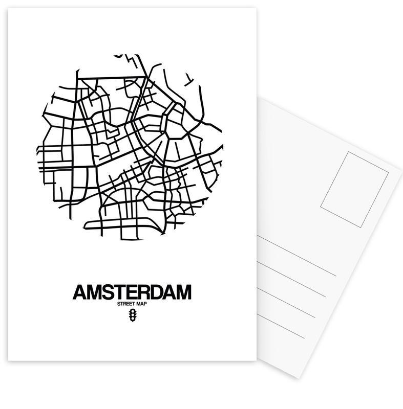 City Maps, Black & White, Amsterdam, Amsterdam Postcard Set