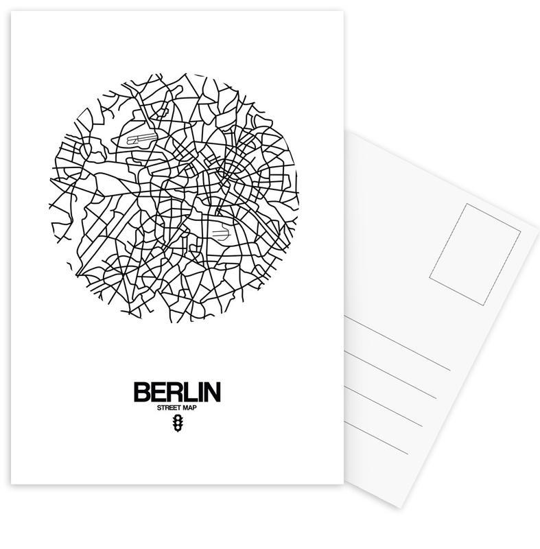 City Maps, Black & White, Berlin, Berlin Street Map Postcard Set