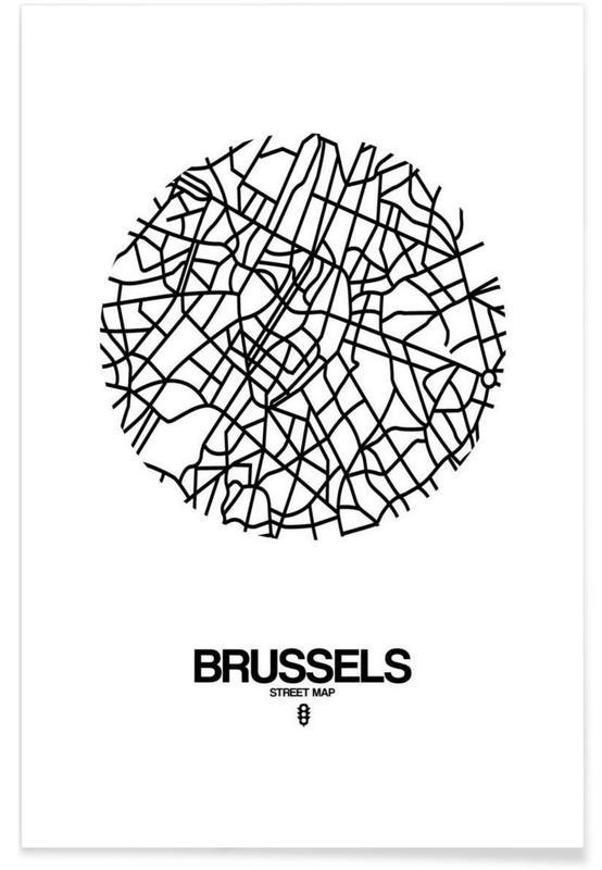 Zwart en wit, Stadskaarten, Brussels poster
