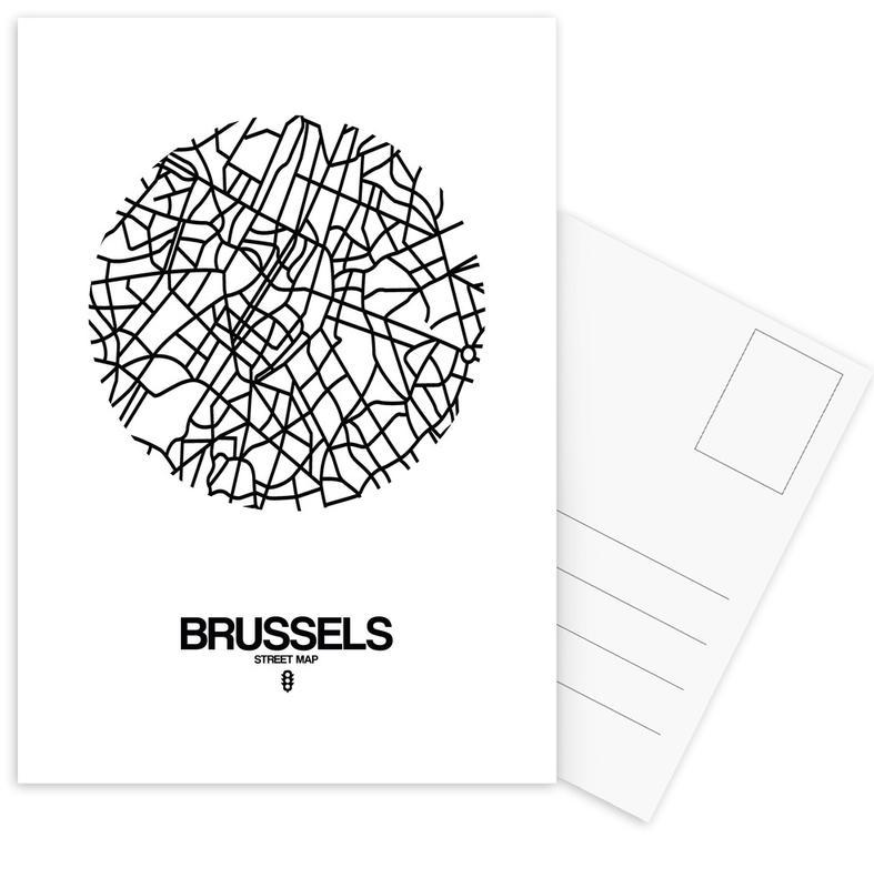 Black & White, City Maps, Brussels Postcard Set