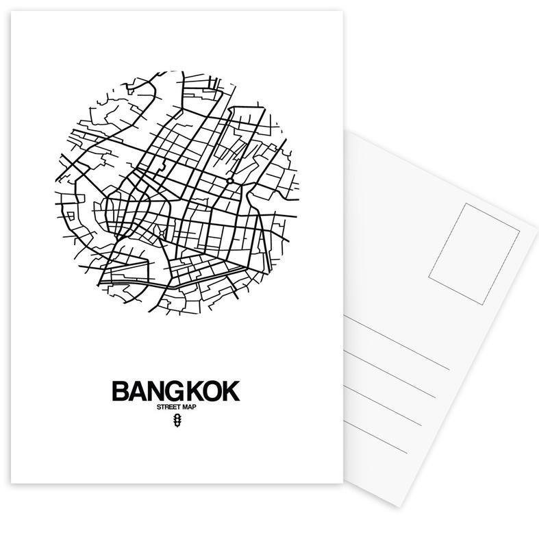 Black & White, City Maps, Bangkok Postcard Set