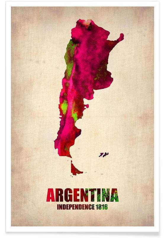 Cartes de pays, Argentine - Carte en aquarelle affiche