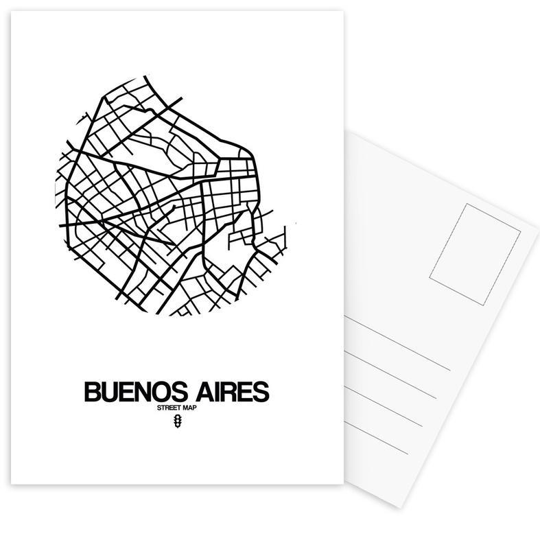 Black & White, City Maps, Buenos Aires Postcard Set