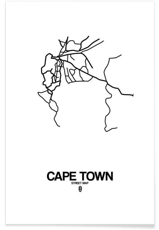 Zwart en wit, Stadskaarten, Cape Town poster