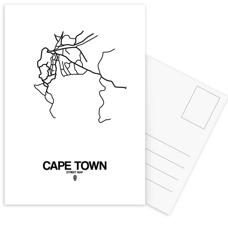Black & White, City Maps, Cape Town Postcard Set