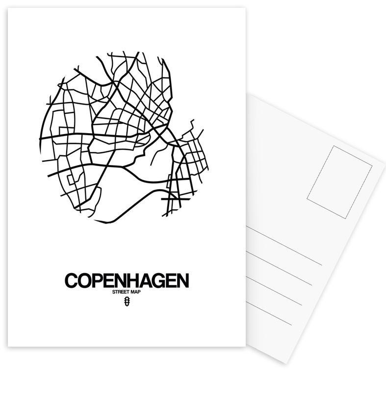City Maps, Copenhagen, Black & White, Copenhagen Postcard Set