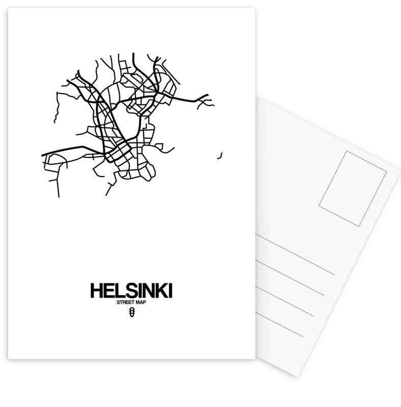 Black & White, City Maps, Helsinki Postcard Set