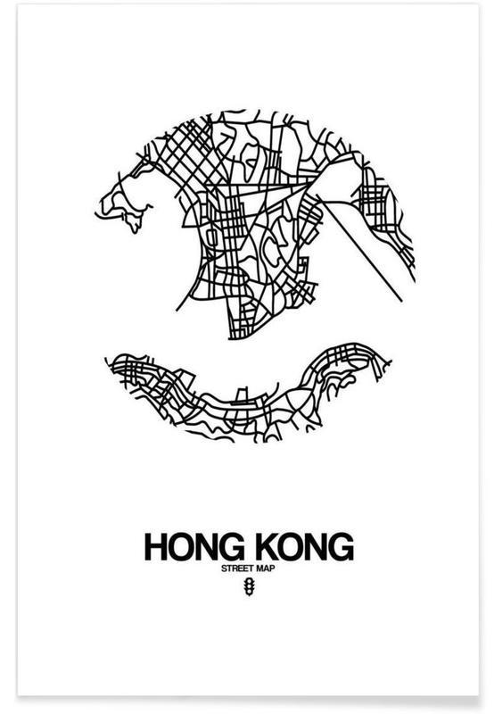 Black & White, Hong Kong, City Maps, Hong Kong Poster