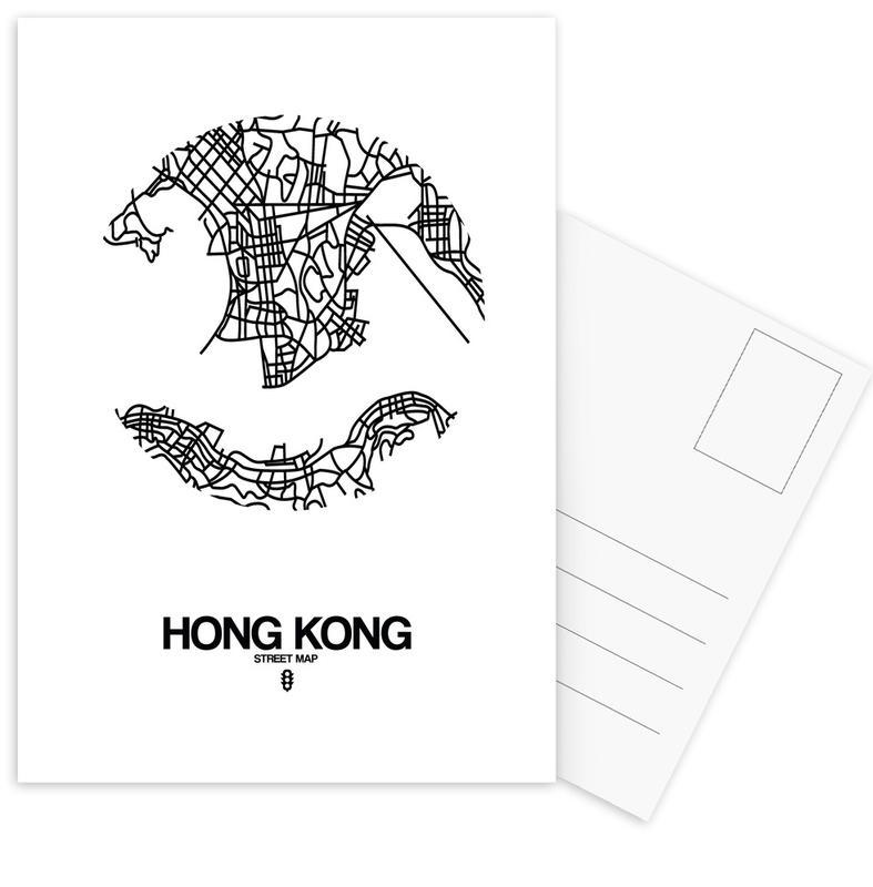 City Maps, Black & White, Hong Kong, Hong Kong Postcard Set