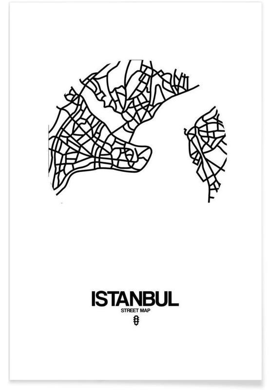 Zwart en wit, Stadskaarten, Istanboel, Istanbul poster