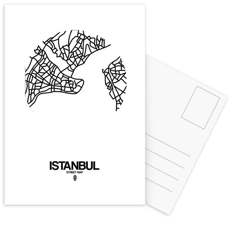 City Maps, Istanbul, Black & White, Istanbul Postcard Set