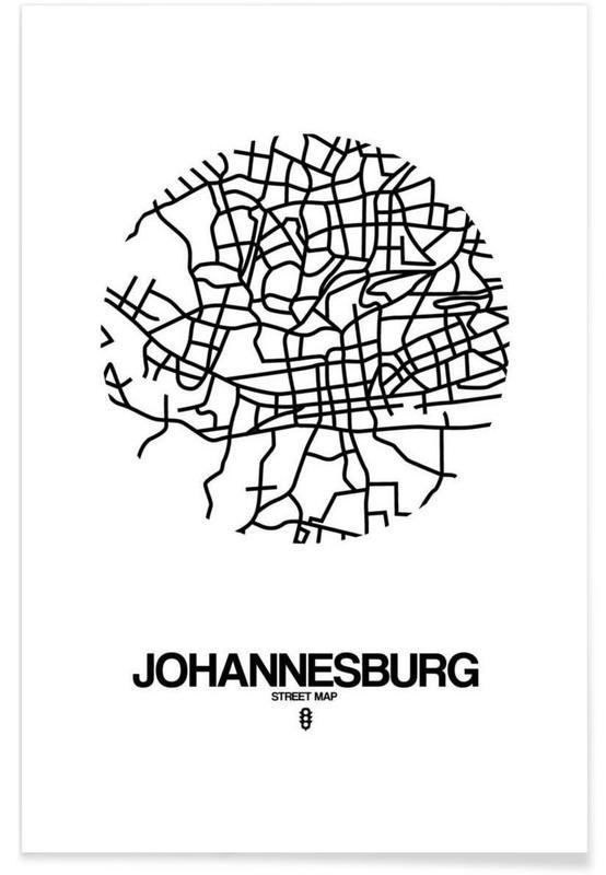 Zwart en wit, Johannesburg poster