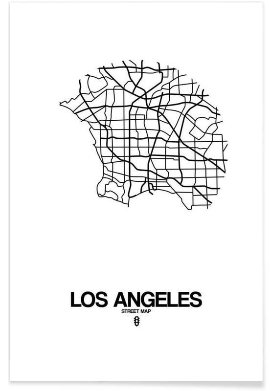 Los Angeles, Zwart en wit, Stadskaarten, Los Angeles poster
