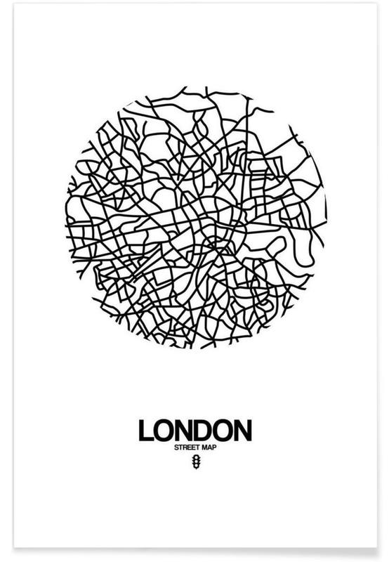 Noir & blanc, Cartes de villes, Londres, London affiche