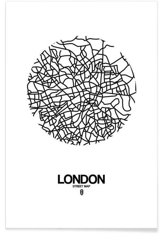 Zwart en wit, Londen, Stadskaarten, London poster