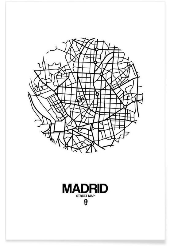 Noir & blanc, Cartes de villes, Madrid, Madrid affiche