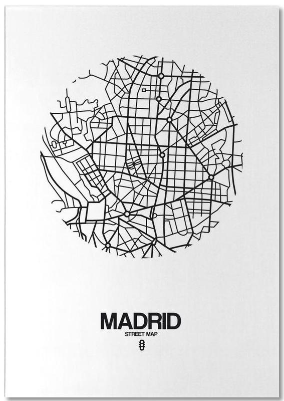 Black & White, City Maps, Madrid, Madrid Notepad