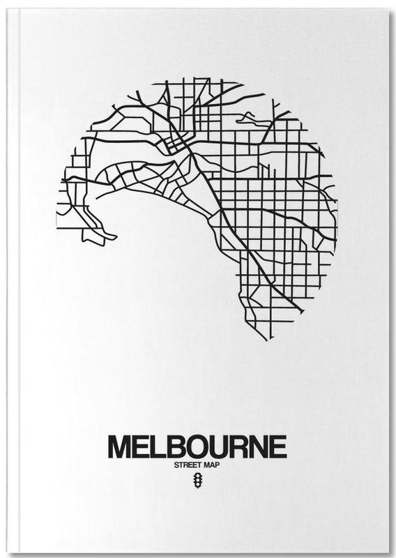 Noir & blanc, Cartes de villes, Melbourne Notebook