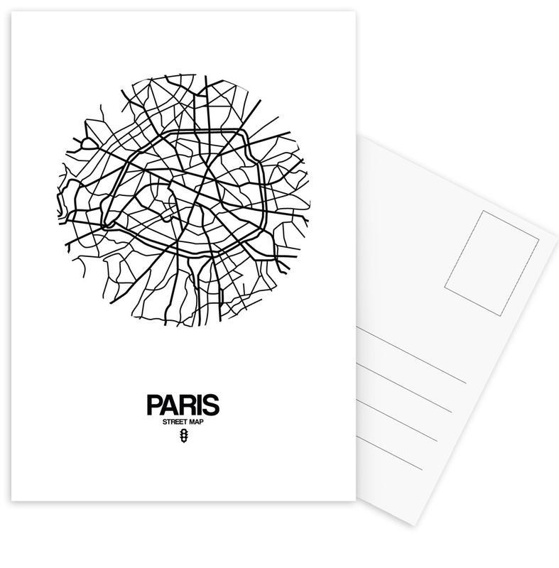 City Maps, Black & White, Paris, Paris Postcard Set