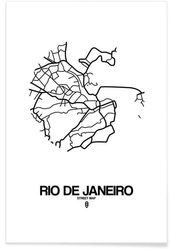 Schwarz & Weiß, Stadtpläne, Rio de Janeiro, Rio de Janeiro -Poster