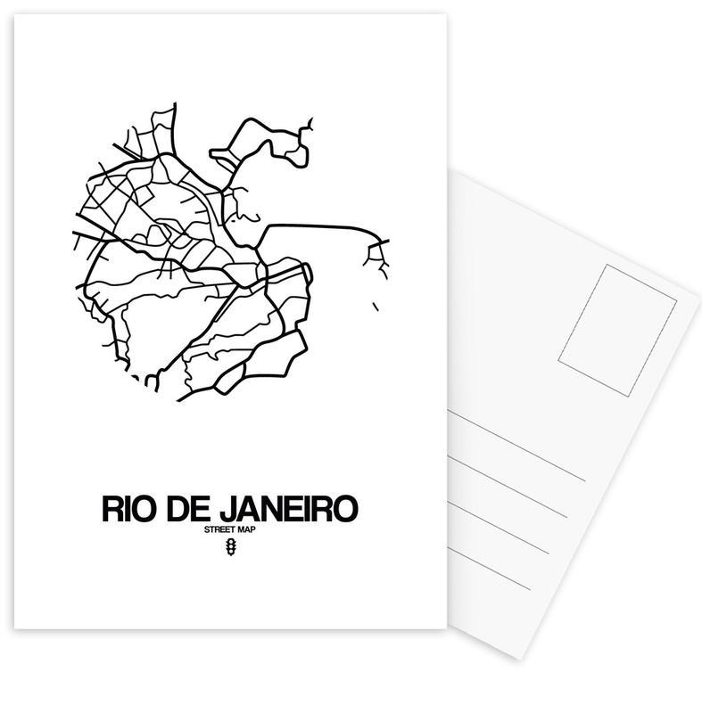 City Maps, Black & White, Rio de Janeiro, Rio de Janeiro Postcard Set