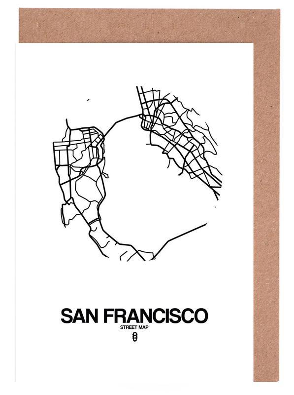 Stadskaarten, San Francisco, Zwart en wit, San Francisco wenskaartenset