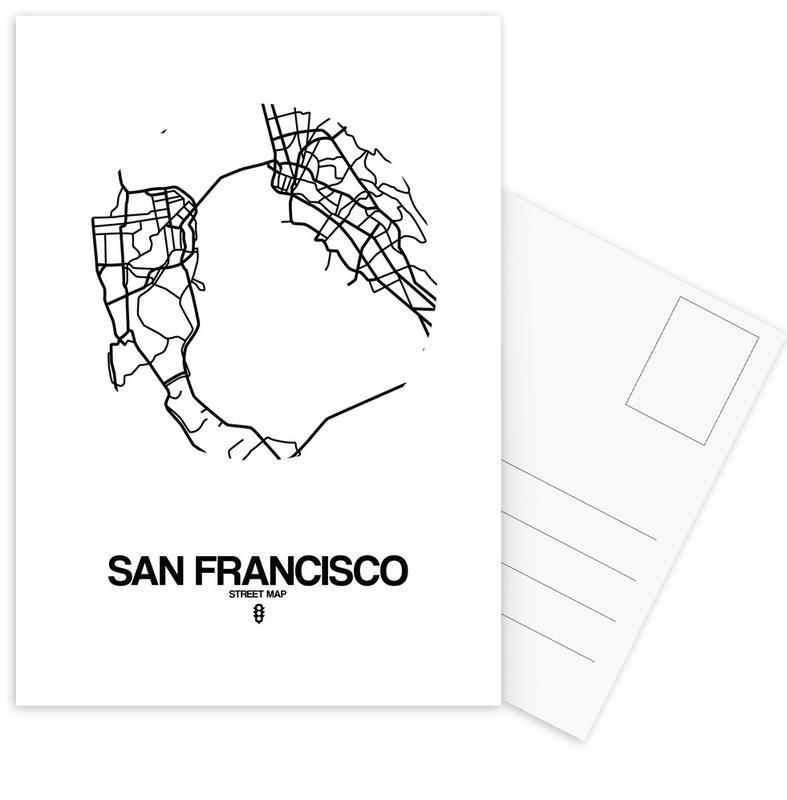 City Maps, San Francisco, Black & White, San Francisco Postcard Set