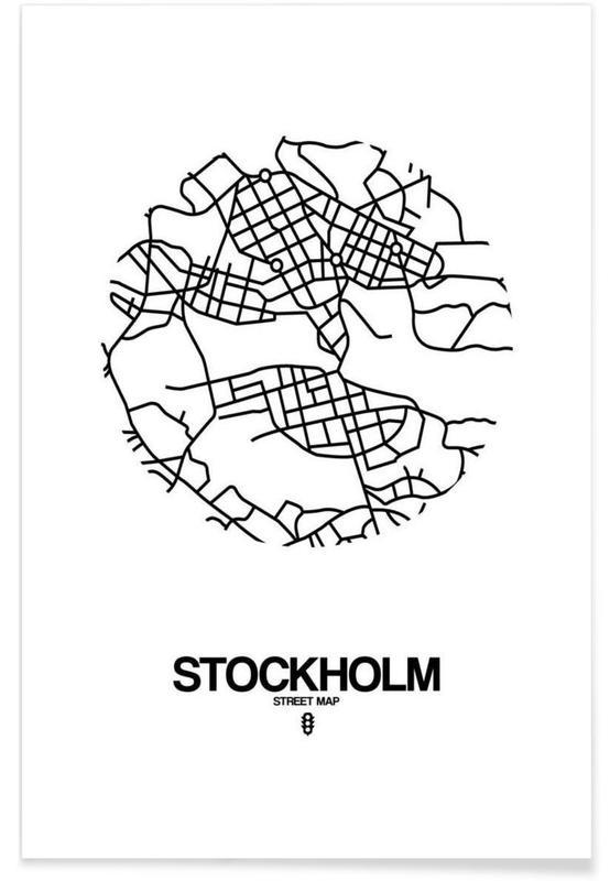 Schwarz & Weiß, Stadtpläne, Stockholm, Stockholm -Poster