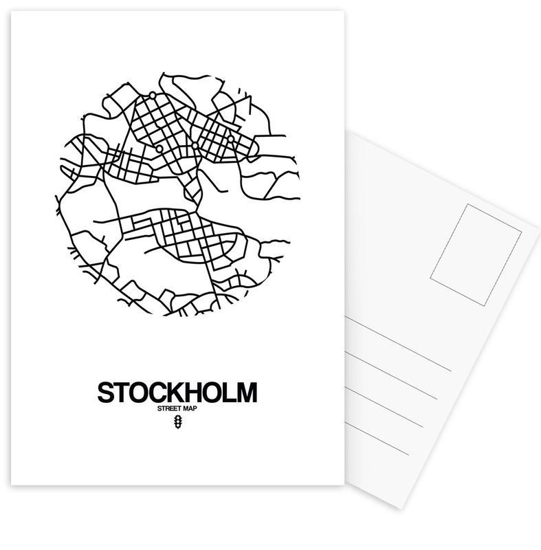 Stadtpläne, Schwarz & Weiß, Stockholm, Stockholm -Postkartenset