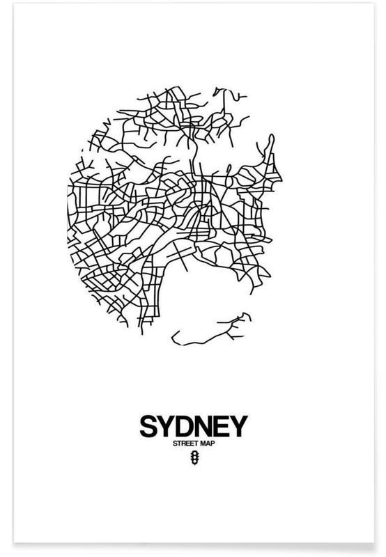 Zwart en wit, Stadskaarten, Sydney poster