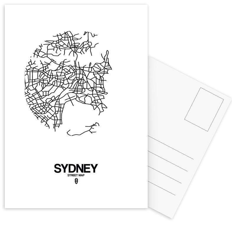 Black & White, City Maps, Sydney Postcard Set