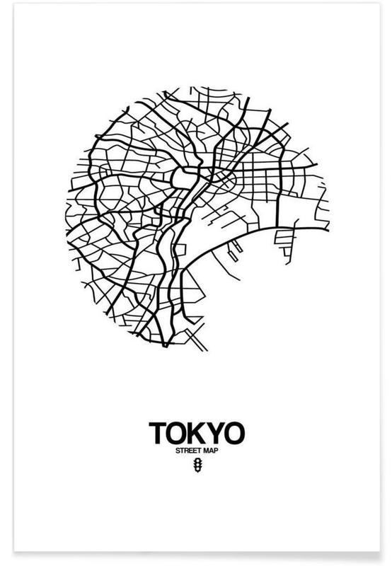 Noir & blanc, Cartes de villes, Tokyo, Tokyo affiche