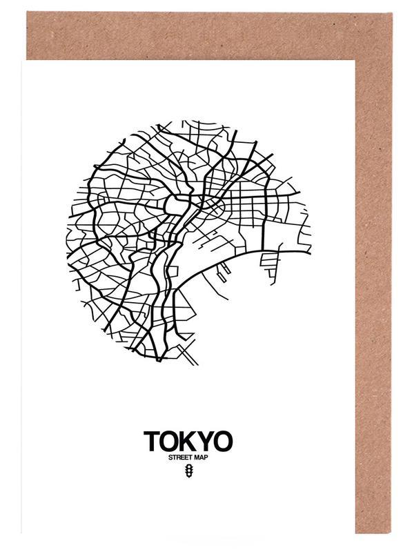 Stadskaarten, Zwart en wit, Tokyo, Tokyo wenskaartenset