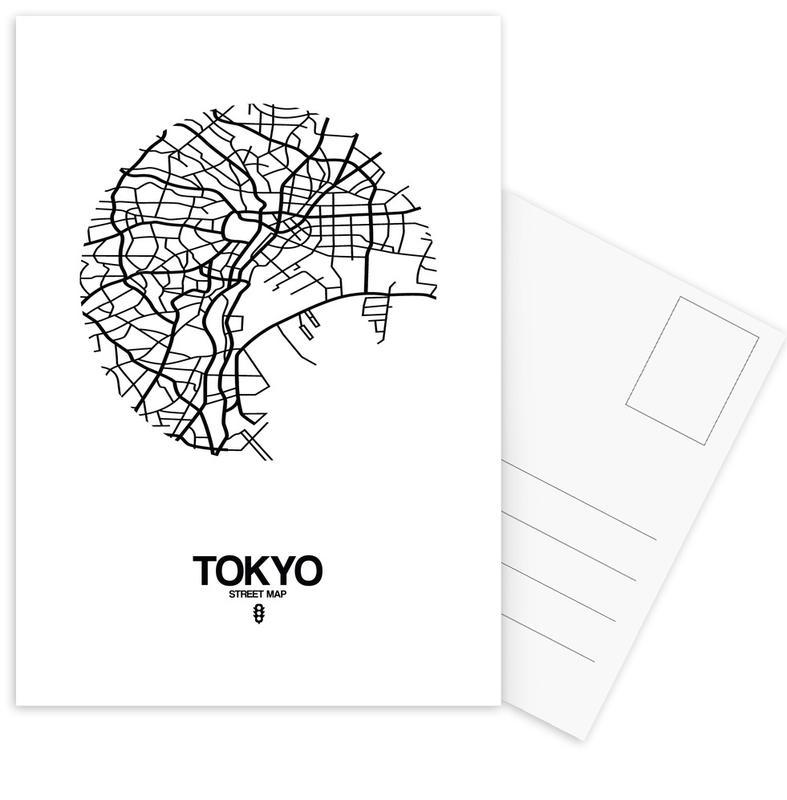 City Maps, Black & White, Tokyo, Tokyo Postcard Set