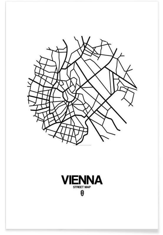 Wenen, Zwart en wit, Stadskaarten, Vienna poster
