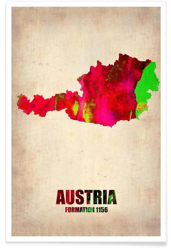 Voyages, Cartes de pays, Autriche - Carte en aquarelle affiche