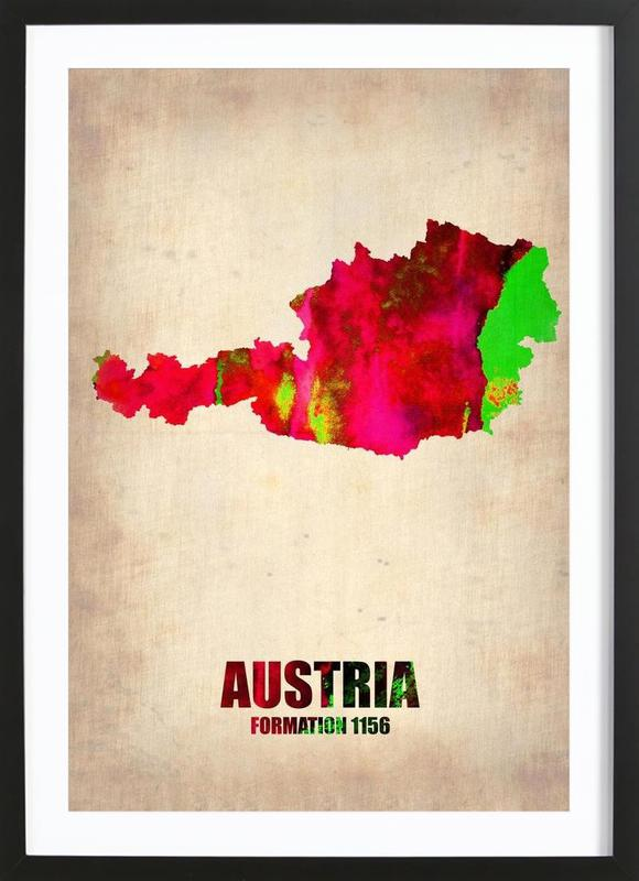 Austria Watercolor Map Framed Print
