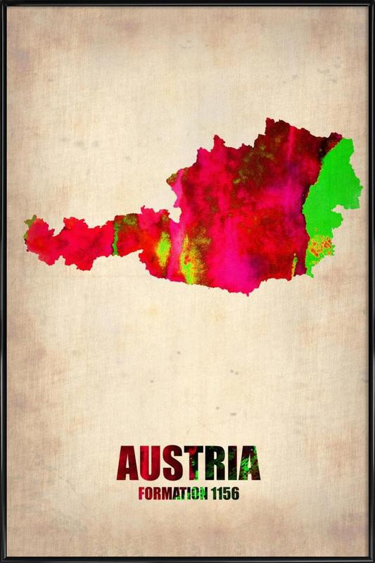 Austria Watercolor Map Framed Poster