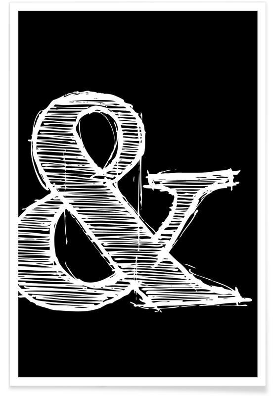 Zwart en wit, Symbolen, Ampersand Black poster