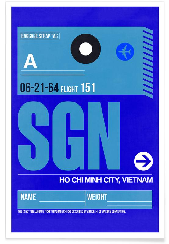Travel, SGN Ho Chi Minh City Luggage Tag I Poster