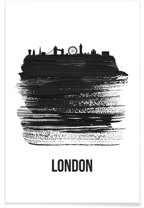 Noir & blanc, Skylines, Londres, London Skyline Brush Stroke affiche