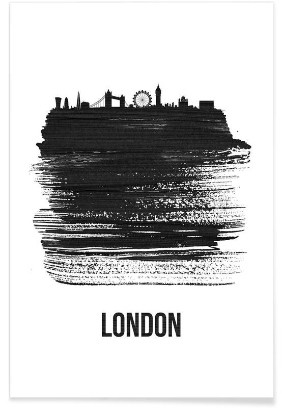 London Skyline Brush Stroke Poster